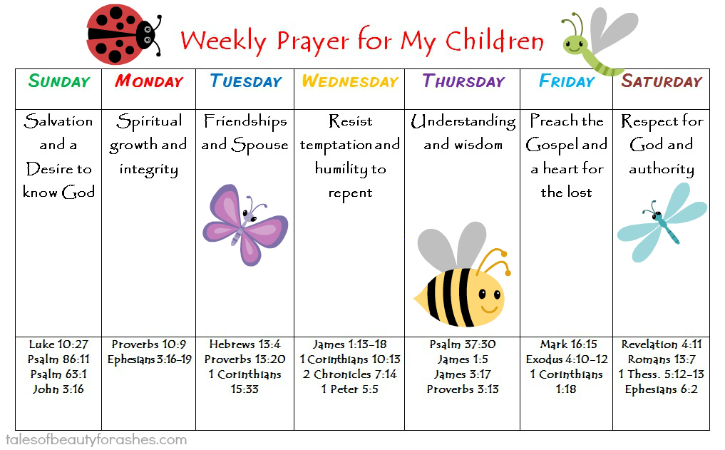 Weekly Prayer Schedule For Children Tales Of Beauty For