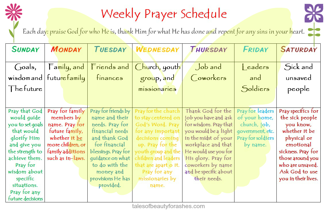 Weekly Prayer Schedule - Tales of Beauty for Ashes