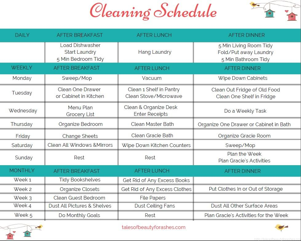 simple weekly cleaning schedule - Tales of Beauty for Ashes